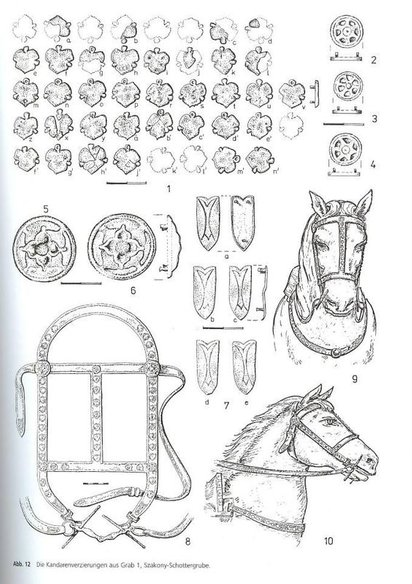 drawings made on reconstructions on 10th-11th century Magyar headgear studs, found in Austria
