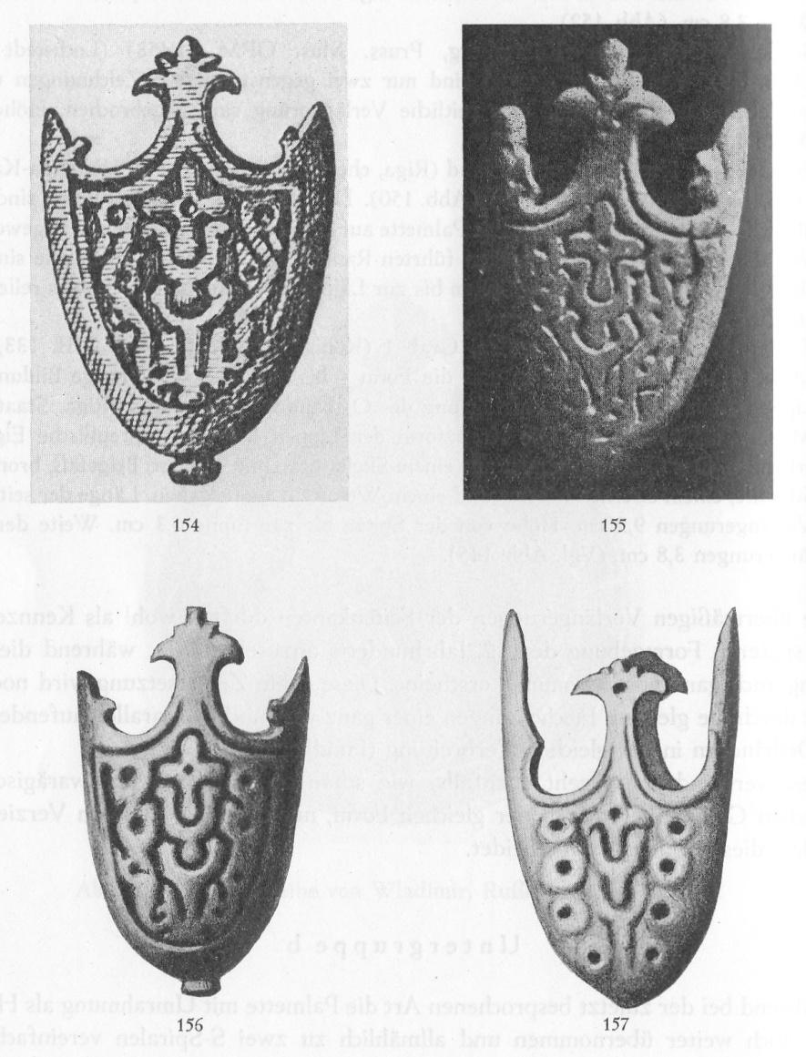 Examples of sword scabbard chapes from the Curonian-East Prussian group, subgroup b