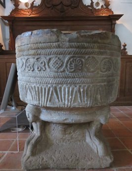 Romanesque font at church Vries