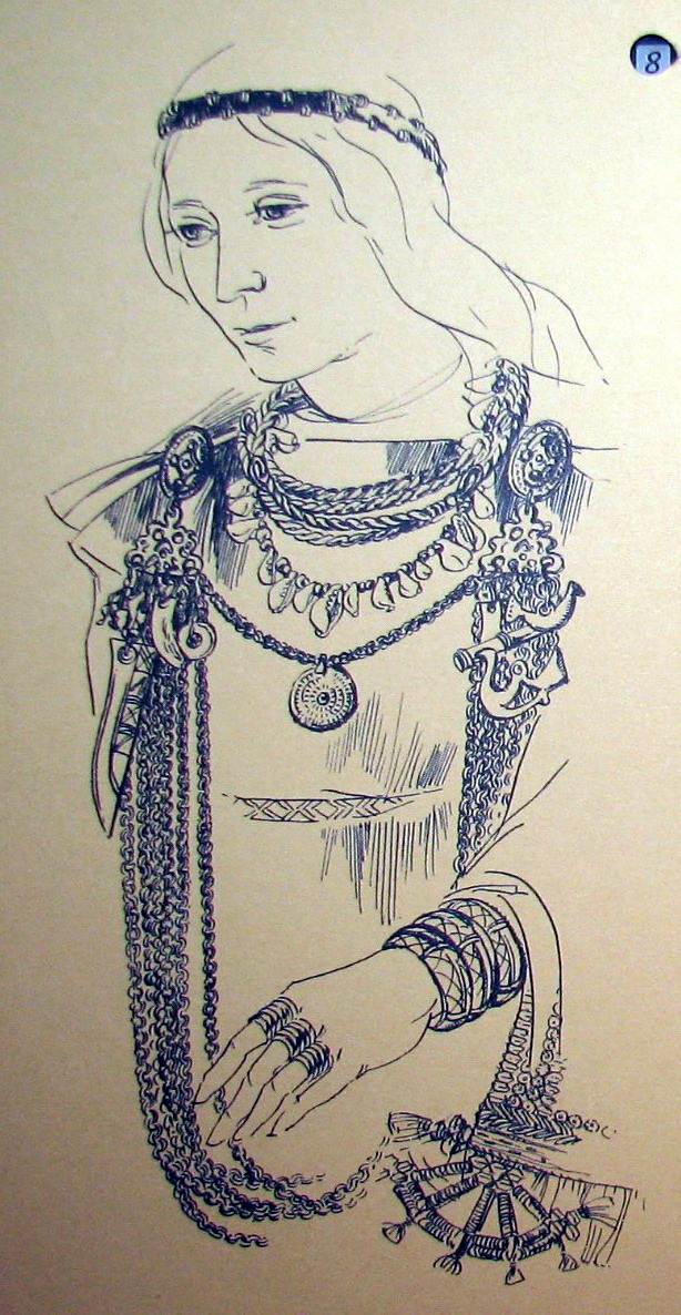 Latvian viking woman wearing full jewelry