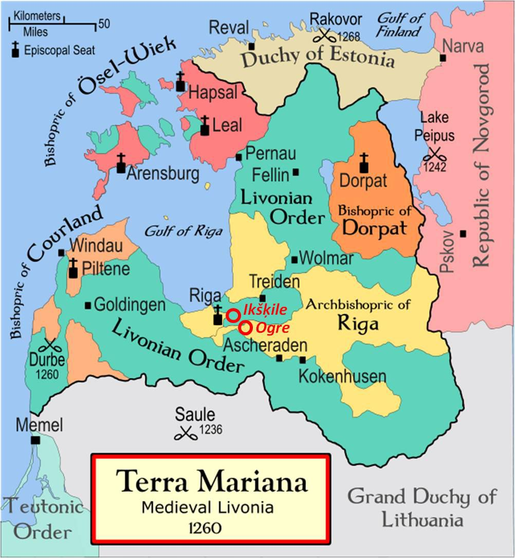 MAp of medieval Livonia 1260 A.D.