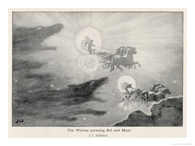 Sköll and Hati chasing the sun and moon