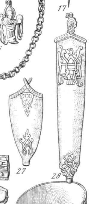 Viking sword chape with oriental palm motif