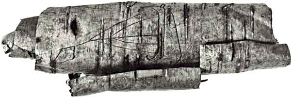 Viking ship image carved in bark scroll 10th century