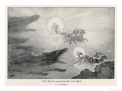 Skoll and Hati chasing Sun and Moon